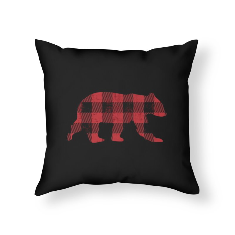 Red Flannel Bear Home Throw Pillow by The Bearly Brand