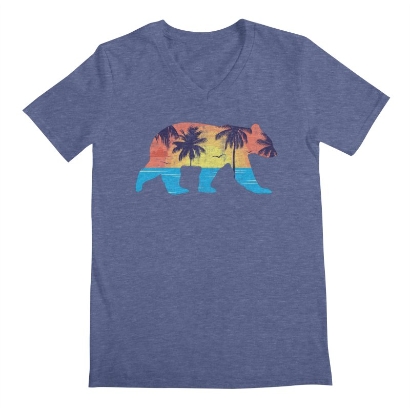Sunset Beach Bear Men's V-Neck by The Bearly Brand