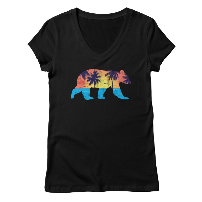Sunset Beach Bear Women's V-Neck by The Bearly Brand