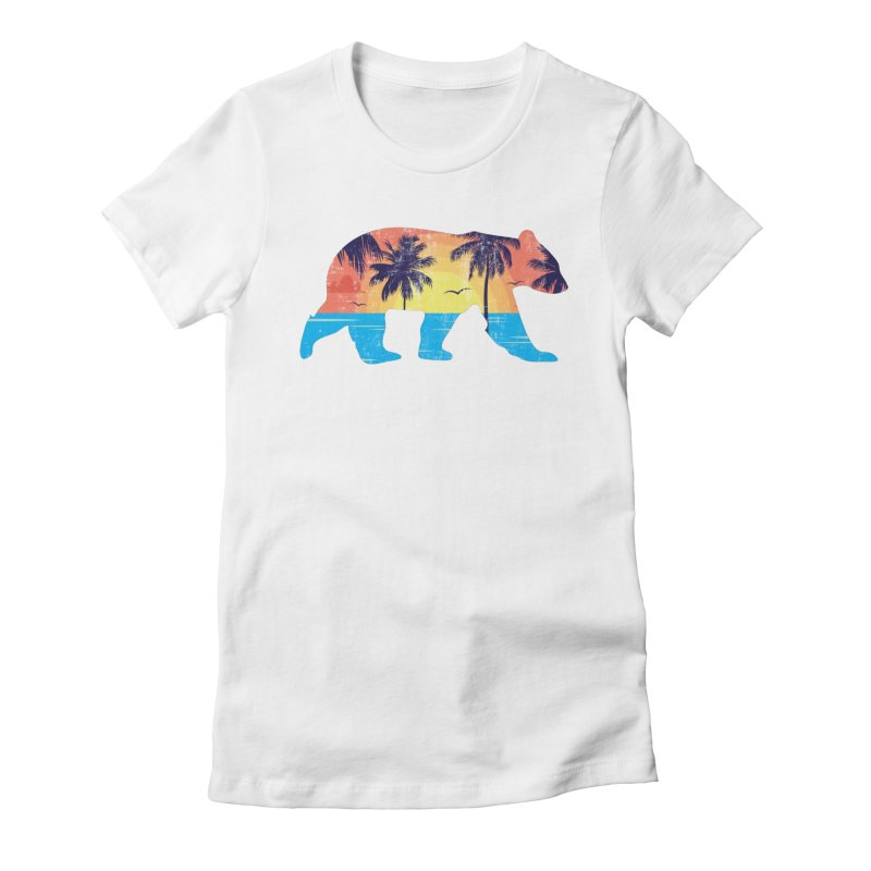 Sunset Beach Bear Women's Fitted T-Shirt by The Bearly Brand