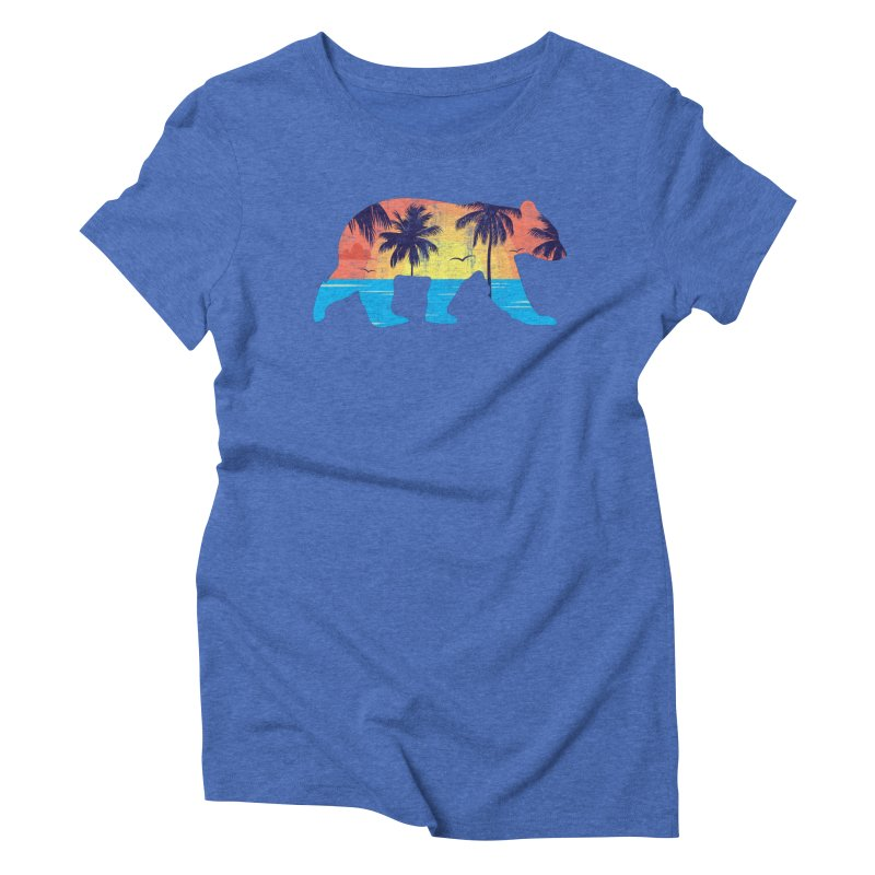 Sunset Beach Bear Women's Triblend T-Shirt by The Bearly Brand