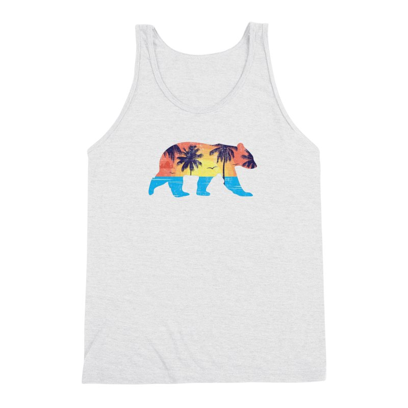 Sunset Beach Bear Men's Triblend Tank by The Bearly Brand