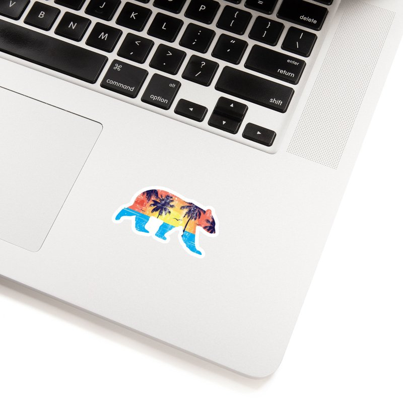 Sunset Beach Bear Accessories Sticker by The Bearly Brand