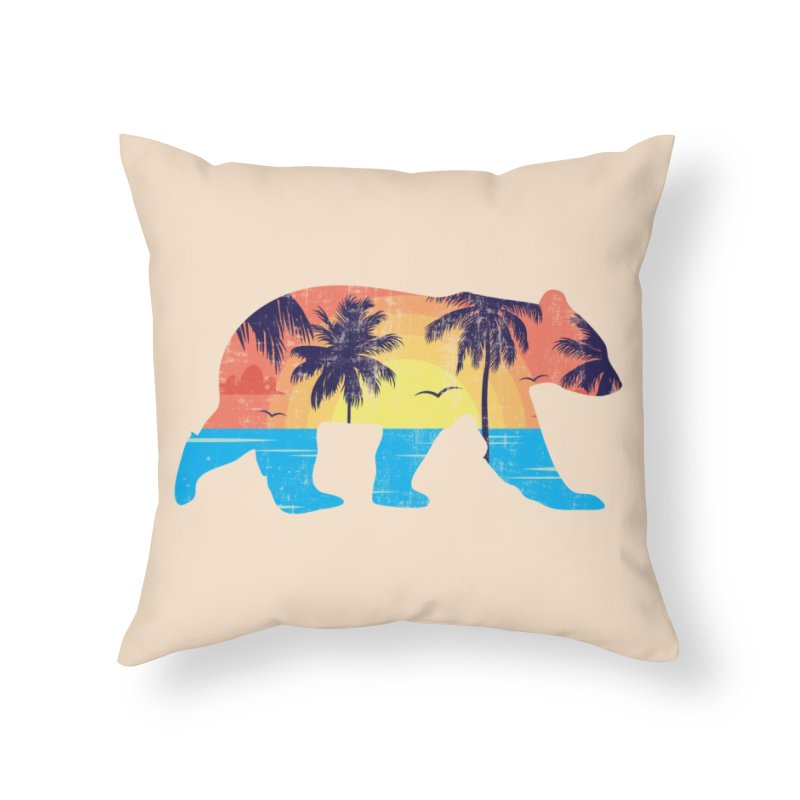 Sunset Beach Bear Home Throw Pillow by The Bearly Brand