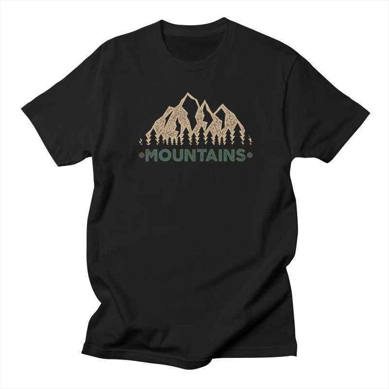 Mountains in Men's T-Shirt Black by The Bearly Brand