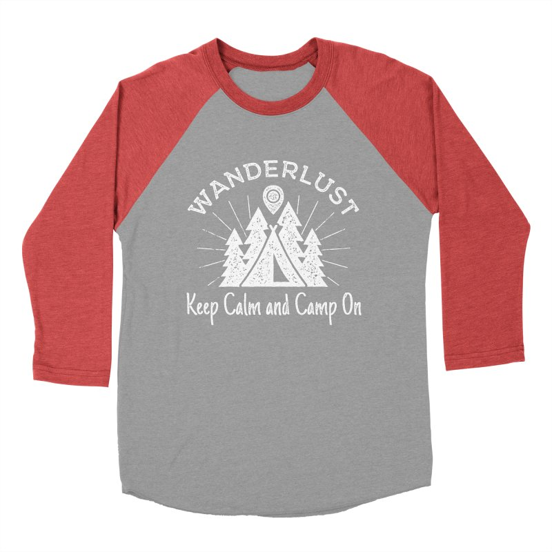 Wanderlust Keep Calm and Camp On Men's Baseball Triblend Longsleeve T-Shirt by The Bearly Brand