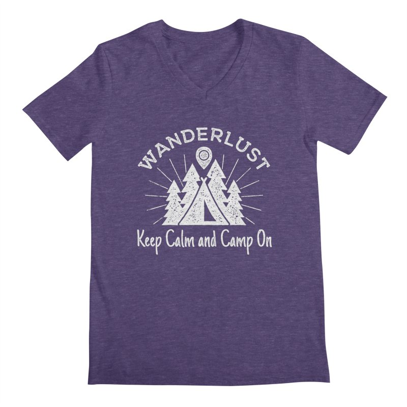 Wanderlust Keep Calm and Camp On Men's Regular V-Neck by The Bearly Brand