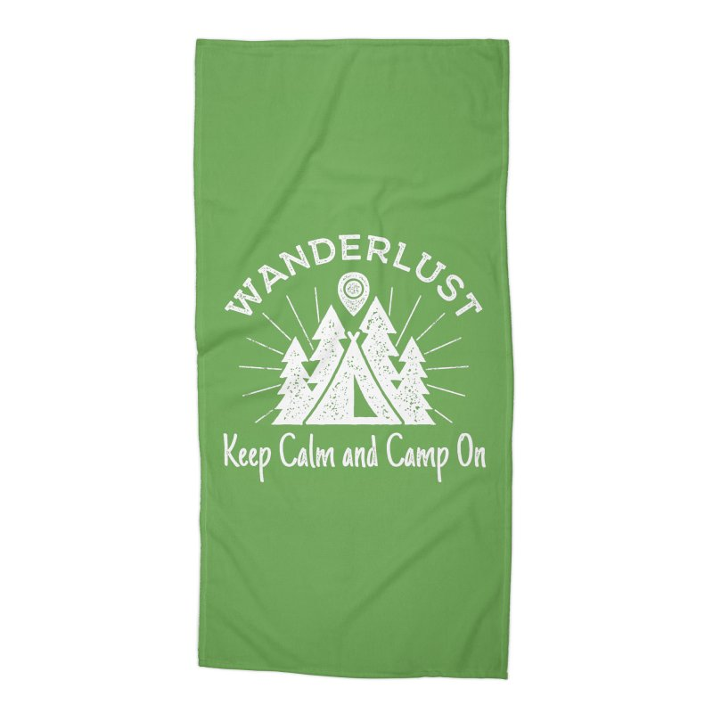 Wanderlust Keep Calm and Camp On Accessories Beach Towel by The Bearly Brand