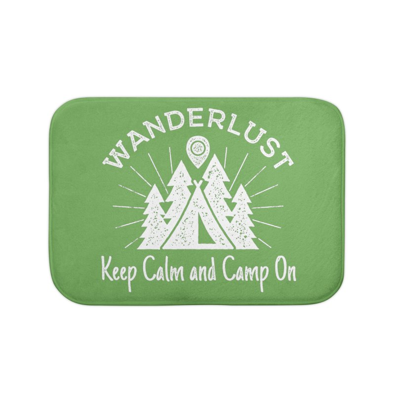 Wanderlust Keep Calm and Camp On Home Bath Mat by The Bearly Brand