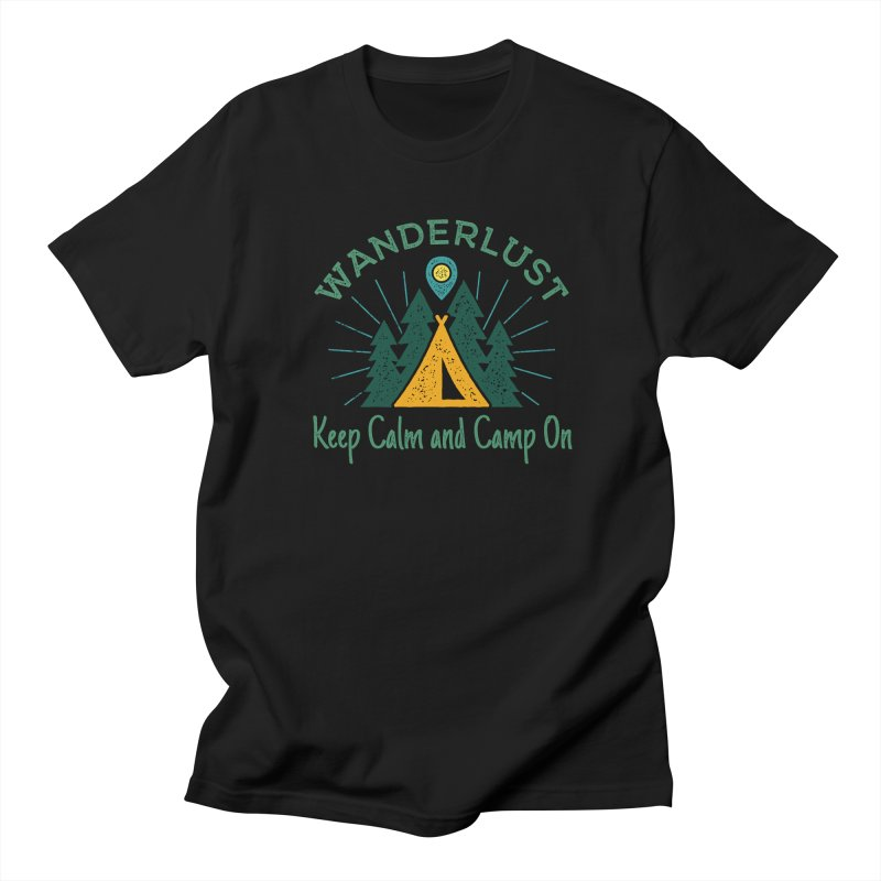 Wanderlust Keep Calm and Camp On in Men's T-Shirt Black by The Bearly Brand