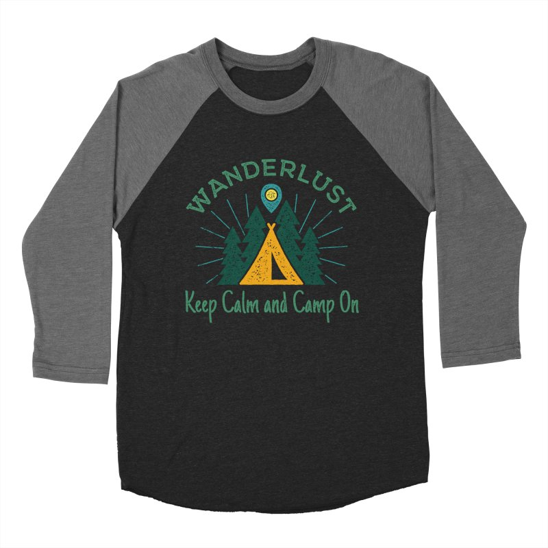 Wanderlust Keep Calm and Camp On Men's Baseball Triblend T-Shirt by The Bearly Brand