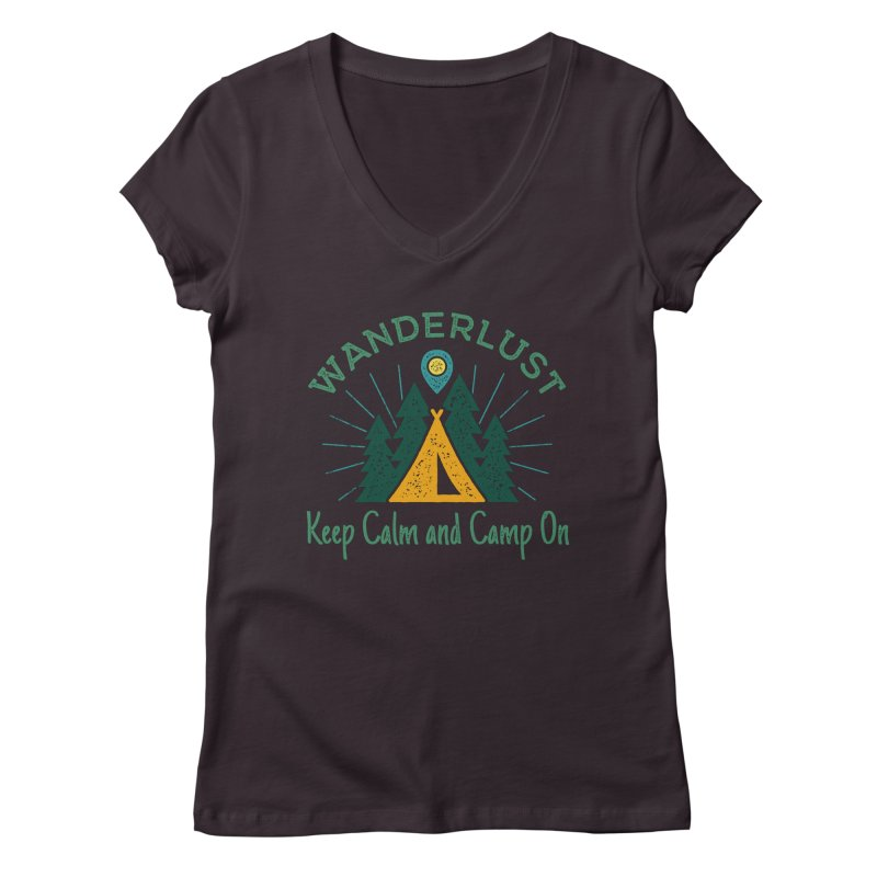 Wanderlust Keep Calm and Camp On Women's V-Neck by The Bearly Brand
