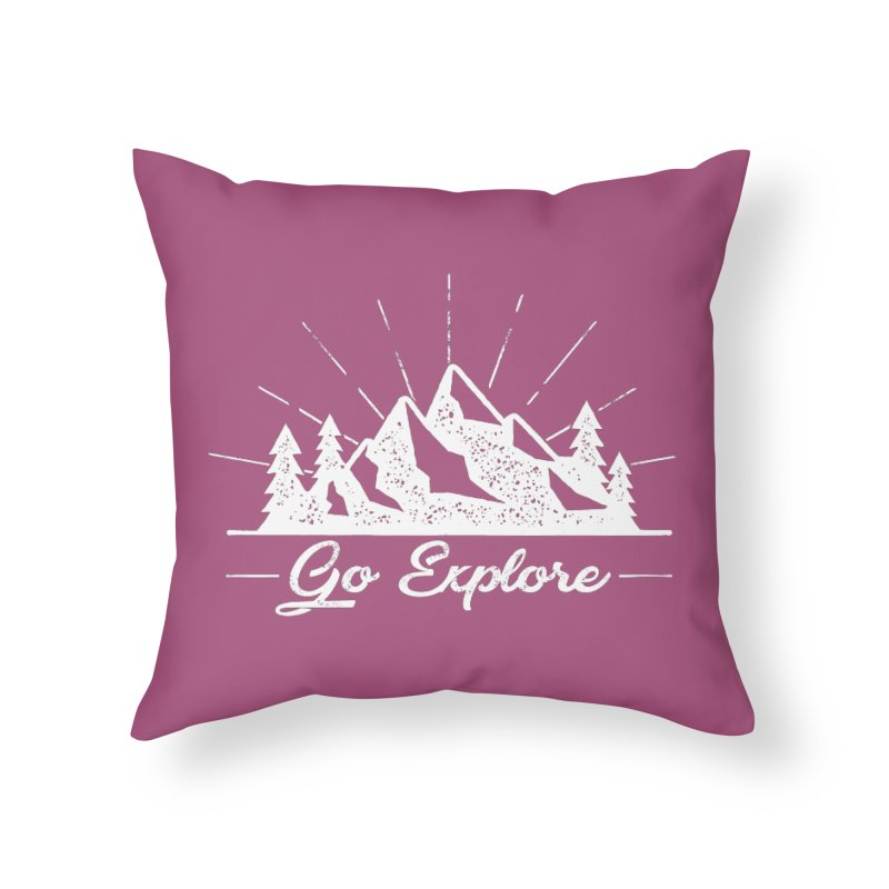 Go Explore Home Throw Pillow by The Bearly Brand