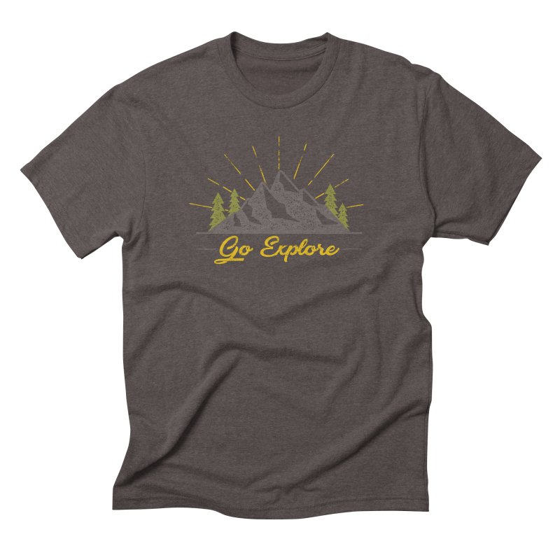 Go Explore in Men's Triblend T-Shirt Tri-Coffee by The Bearly Brand