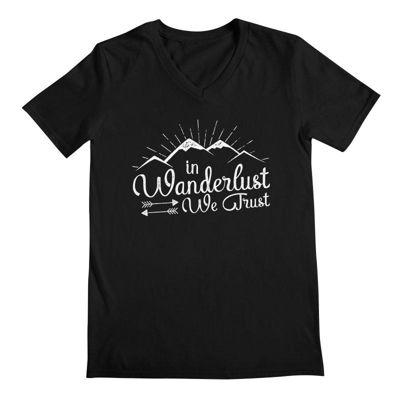 In Wanderlust We Trust Men's Regular V-Neck by The Bearly Brand