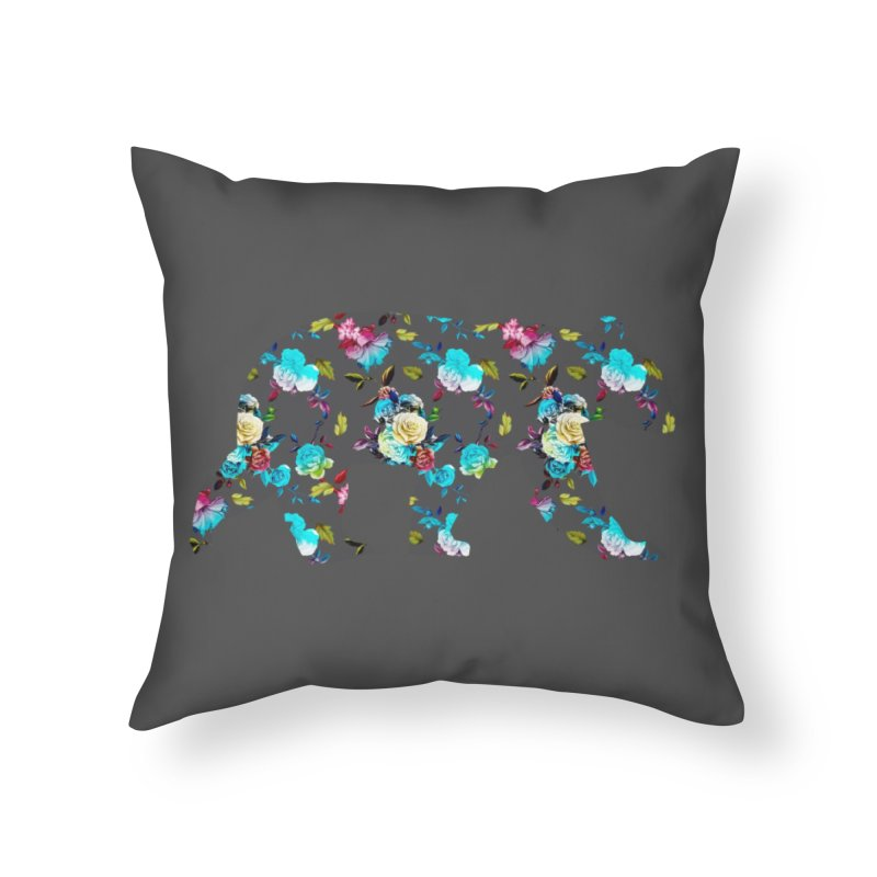 Summer Floral Bear Home Throw Pillow by The Bearly Brand