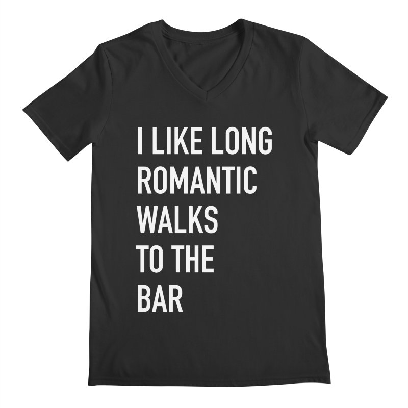 Long Romantic Walks To The Bar Men's Regular V-Neck by The Bearly Brand