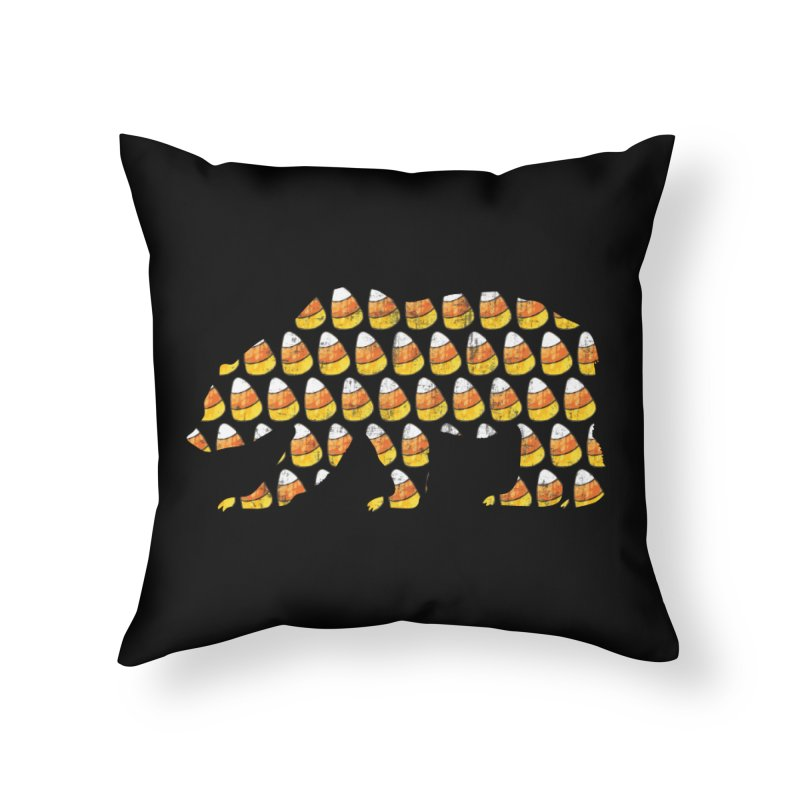 Candy Corn Halloween Bear Home Throw Pillow by The Bearly Brand