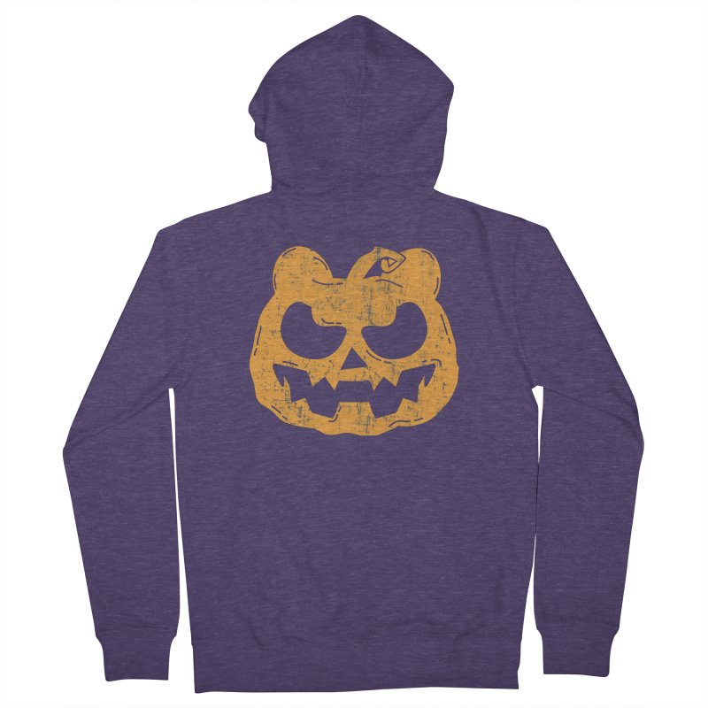 Pumpkin Bear Jack O'Lantern Head Men's French Terry Zip-Up Hoody by The Bearly Brand