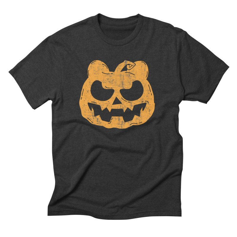 Pumpkin Bear Jack O'Lantern Head Men's Triblend T-Shirt by The Bearly Brand