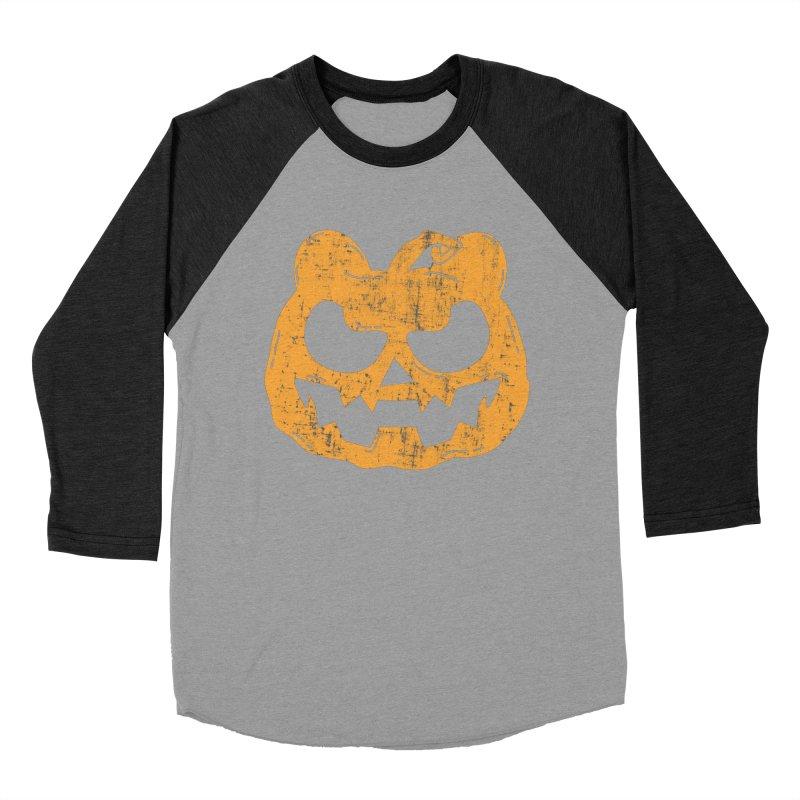 Pumpkin Bear Jack O'Lantern Head Men's Baseball Triblend Longsleeve T-Shirt by The Bearly Brand