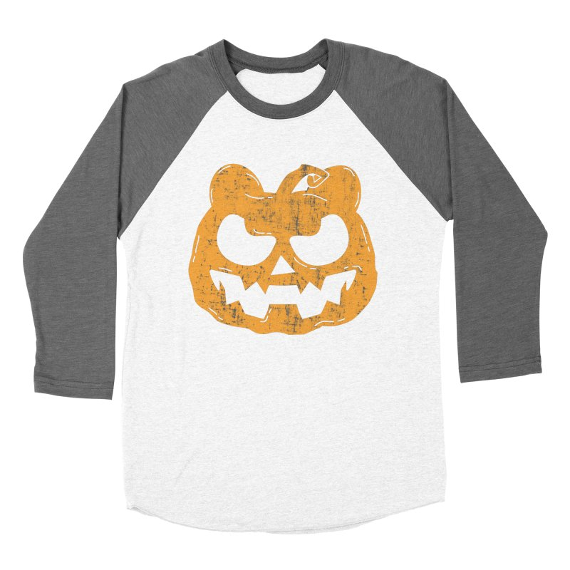 Pumpkin Bear Jack O'Lantern Head Men's Baseball Triblend Longsleeve T-Shirt by The Bearly Brand