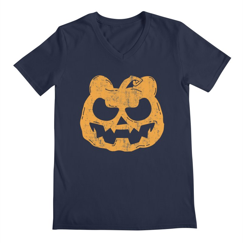 Pumpkin Bear Jack O'Lantern Head Men's Regular V-Neck by The Bearly Brand