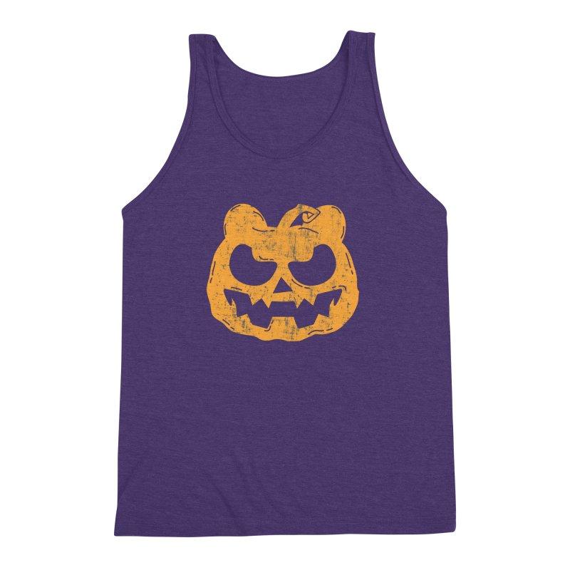 Pumpkin Bear Jack O'Lantern Head Men's Triblend Tank by The Bearly Brand