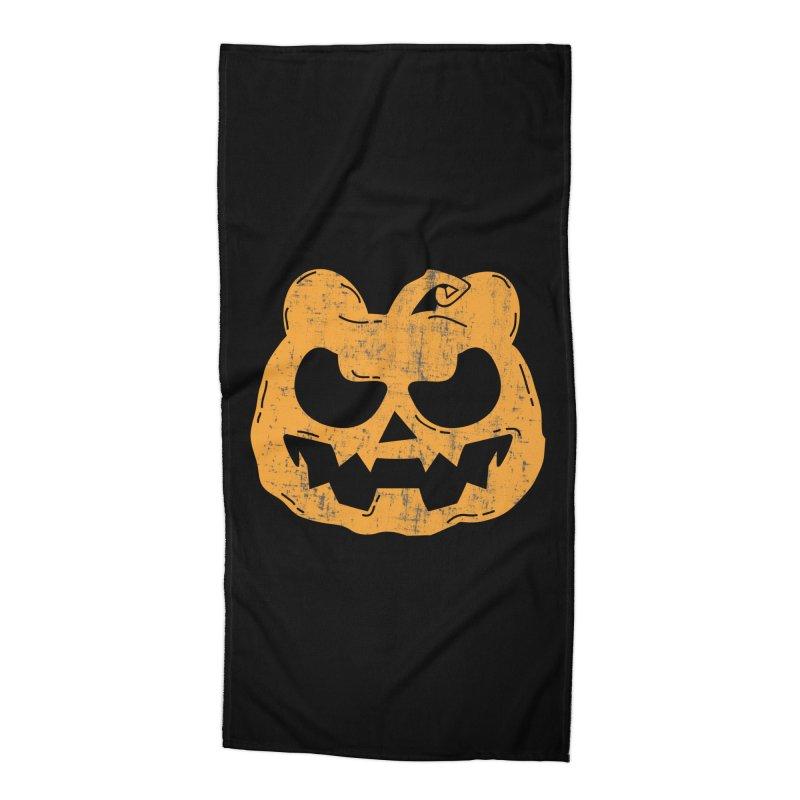 Pumpkin Bear Jack O'Lantern Head Accessories Beach Towel by The Bearly Brand