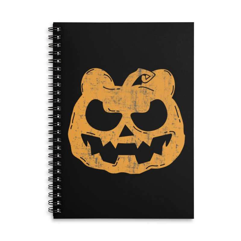 Pumpkin Bear Jack O'Lantern Head Accessories Lined Spiral Notebook by The Bearly Brand