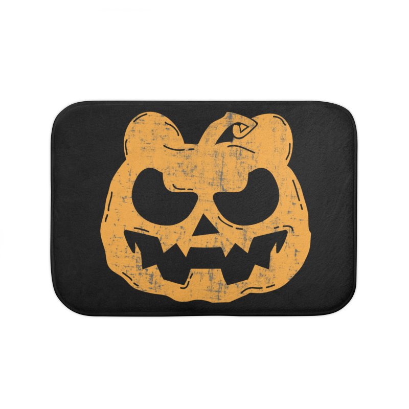 Pumpkin Bear Jack O'Lantern Head Home Bath Mat by The Bearly Brand