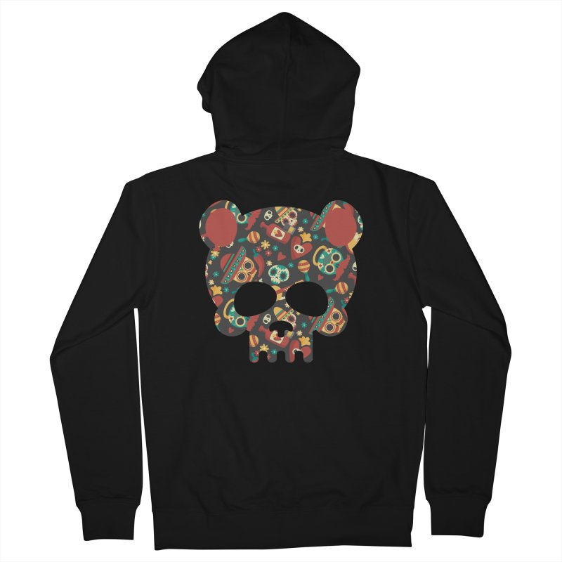Day of The Dead Bear Skull Men's French Terry Zip-Up Hoody by The Bearly Brand