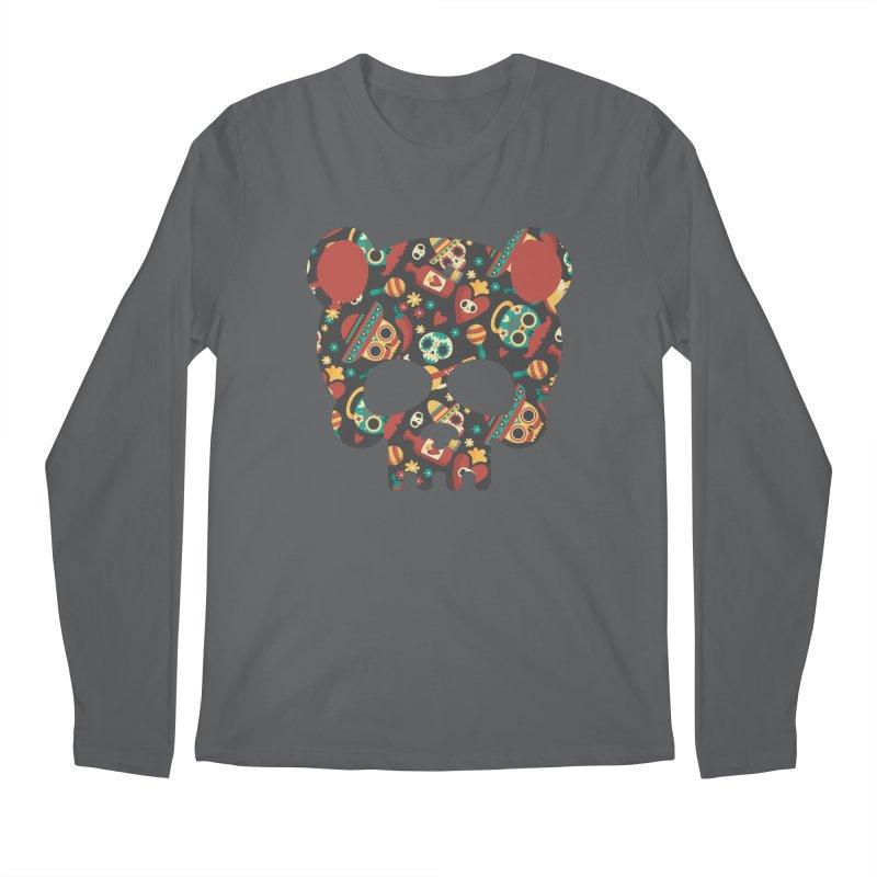 Day of The Dead Bear Skull Men's Regular Longsleeve T-Shirt by The Bearly Brand
