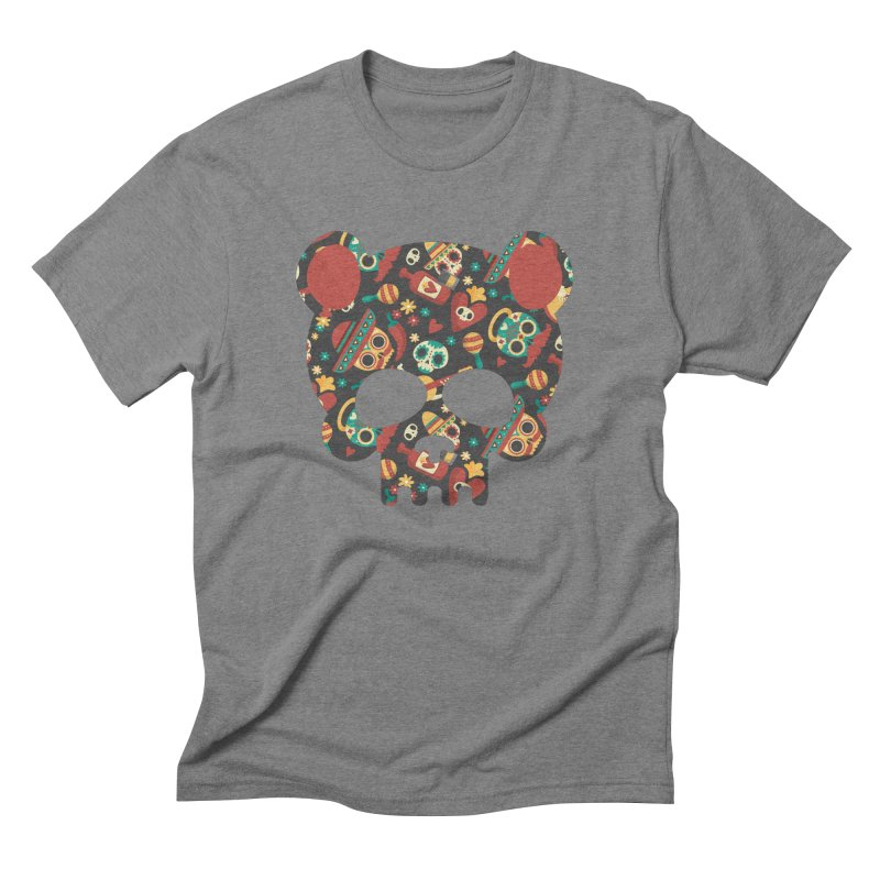 Day of The Dead Bear Skull Men's Triblend T-Shirt by The Bearly Brand
