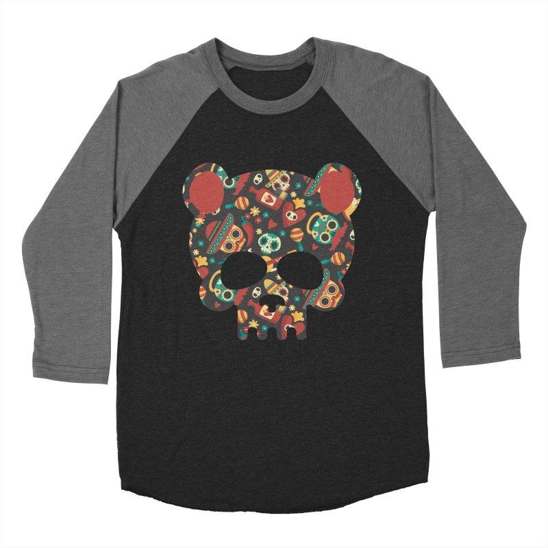 Day of The Dead Bear Skull Men's Baseball Triblend Longsleeve T-Shirt by The Bearly Brand