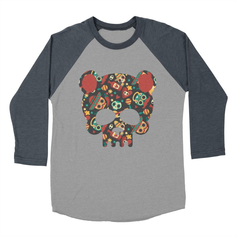Day of The Dead Bear Skull Men's Baseball Triblend Longsleeve T-Shirt by The Bearly Brand