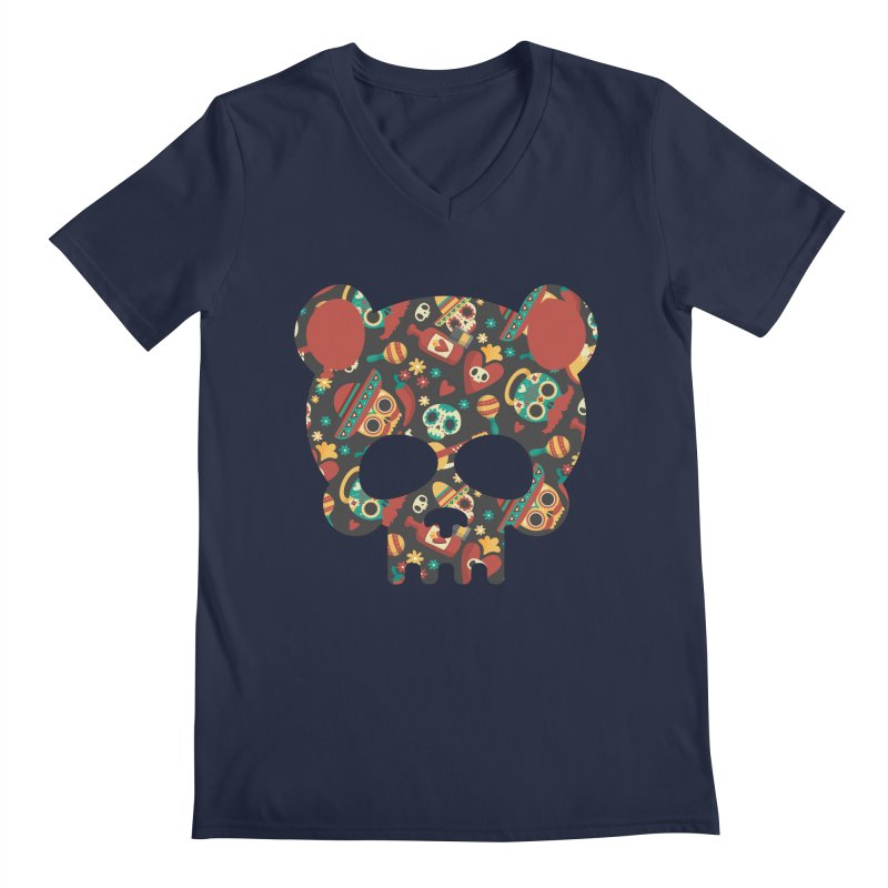 Day of The Dead Bear Skull Men's Regular V-Neck by The Bearly Brand
