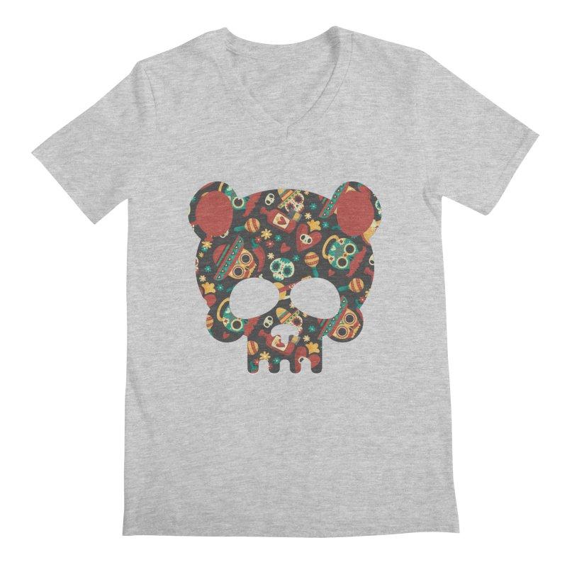 Day of The Dead Bear Skull Men's Regular V-Neck by The Bearly Brand