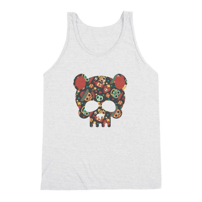 Day of The Dead Bear Skull Men's Triblend Tank by The Bearly Brand
