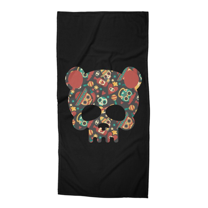 Day of The Dead Bear Skull Accessories Beach Towel by The Bearly Brand
