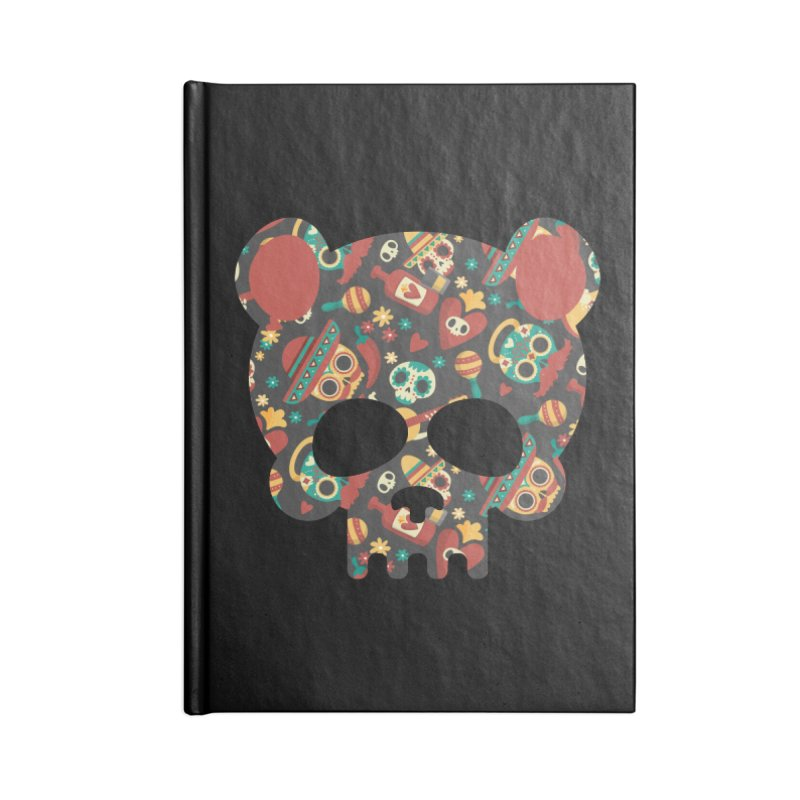 Day of The Dead Bear Skull Accessories Lined Journal Notebook by The Bearly Brand