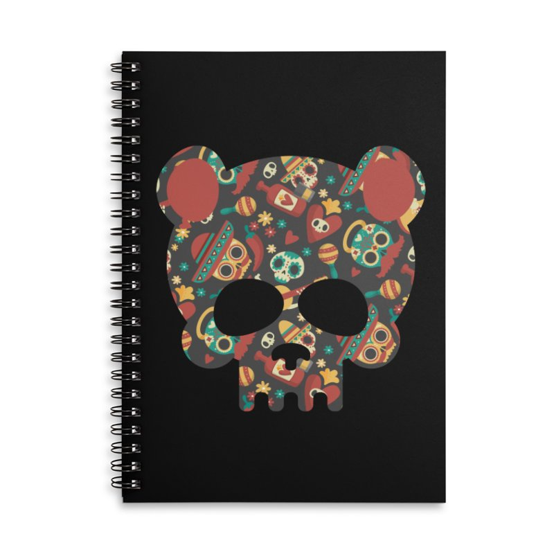 Day of The Dead Bear Skull Accessories Lined Spiral Notebook by The Bearly Brand