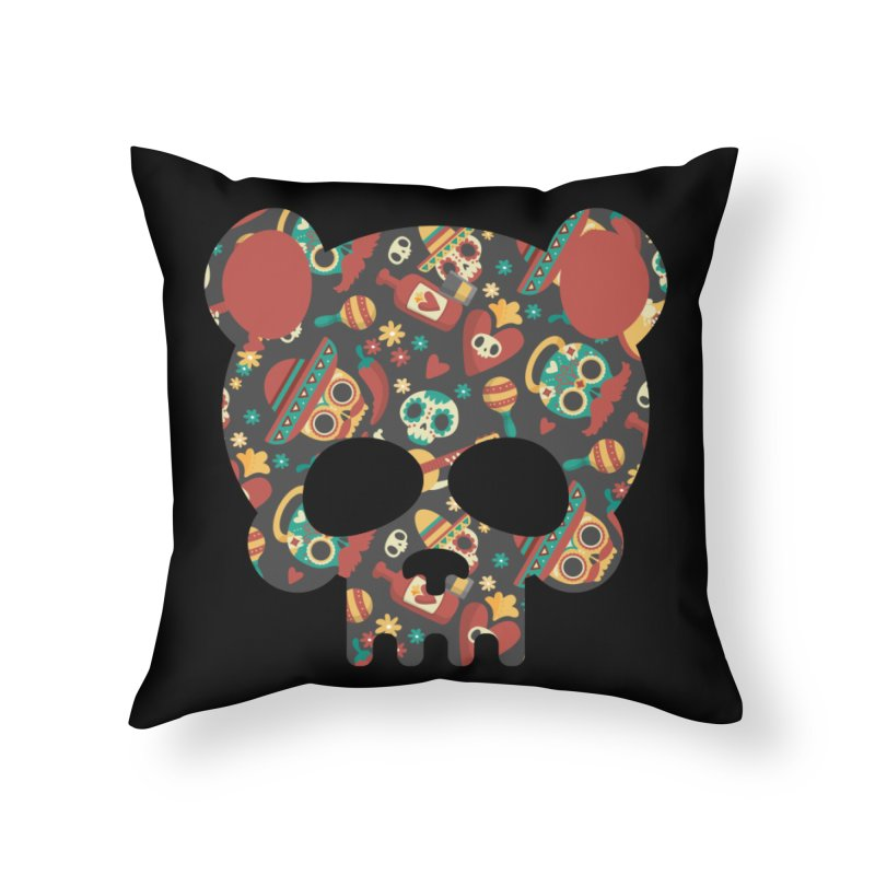 Day of The Dead Bear Skull Home Throw Pillow by The Bearly Brand