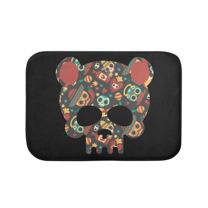 Day of The Dead Bear Skull Home Bath Mat by The Bearly Brand
