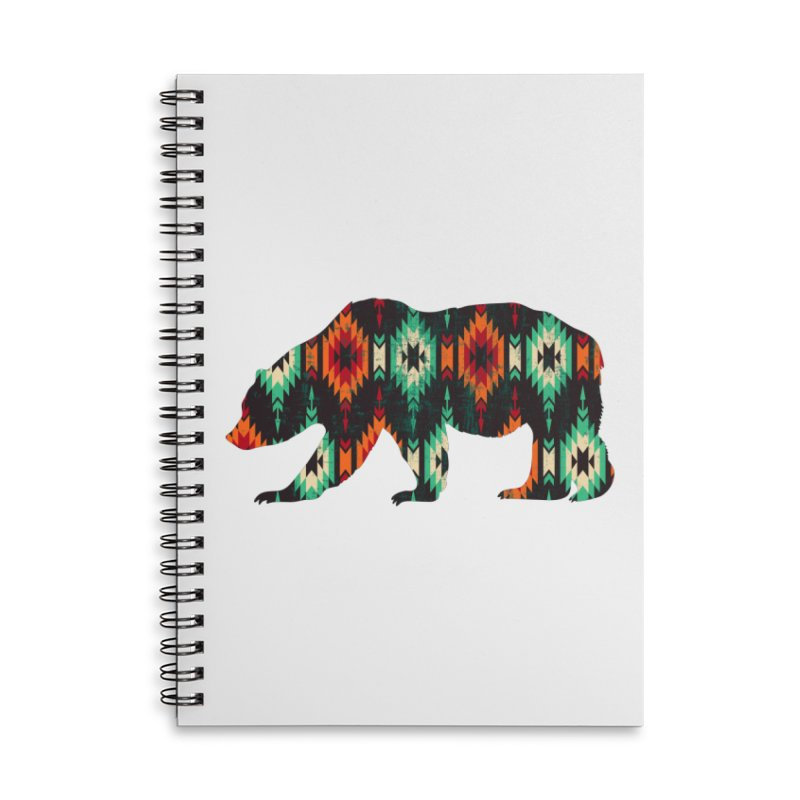 Southwestern Bear Aztec Tribal Grizzly Accessories Lined Spiral Notebook by The Bearly Brand