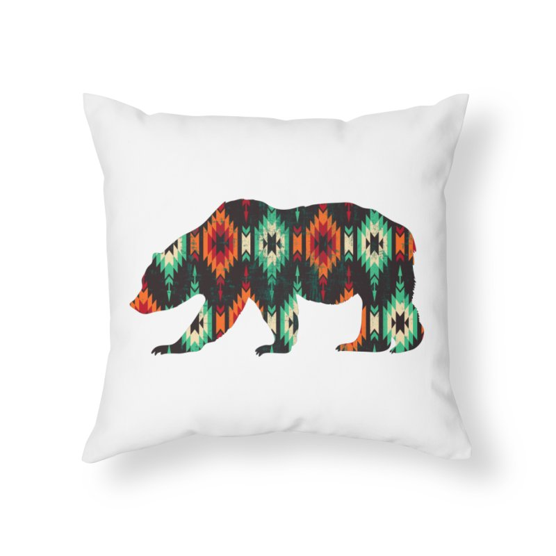 Southwestern Bear Aztec Tribal Grizzly Home Throw Pillow by The Bearly Brand