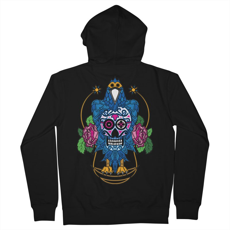 Sugar Raven Skull Men's Zip-Up Hoody by thebraven's Artist Shop
