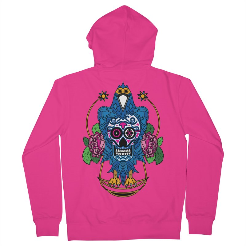 Sugar Raven Skull Men's French Terry Zip-Up Hoody by thebraven's Artist Shop