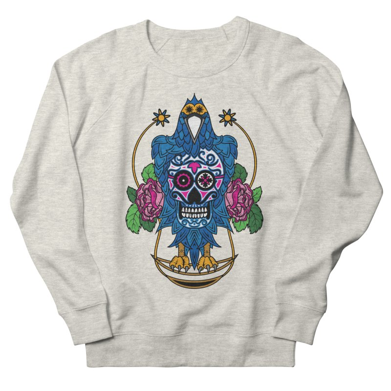 Sugar Raven Skull Men's French Terry Sweatshirt by thebraven's Artist Shop