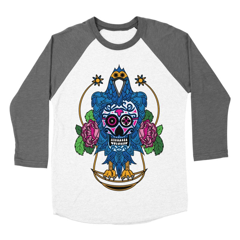 Sugar Raven Skull Men's Baseball Triblend T-Shirt by thebraven's Artist Shop